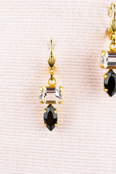 French Art Deco Double Crystal Earrings
