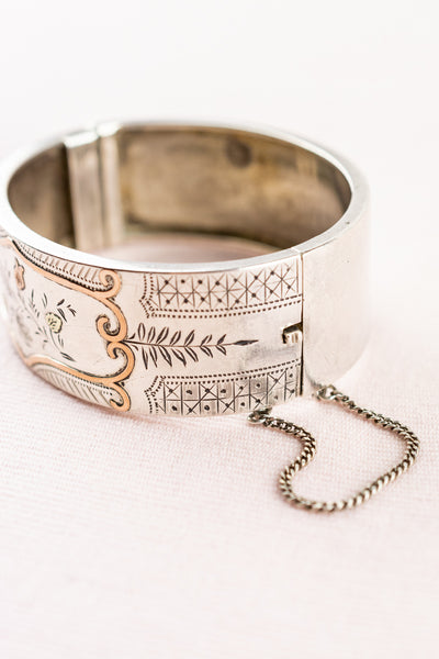 Antique French Sterling Silver Cuff Bracelet