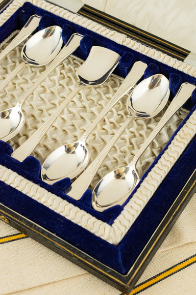 Vintage Silverplate Teaspoons with Sugar Spoon Boxed Set