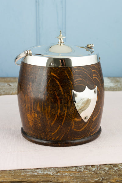 Antique Wood and Silverplate Biscuit Barrel