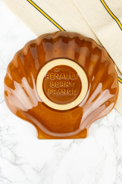 Vintage French Stoneware Shell Dish