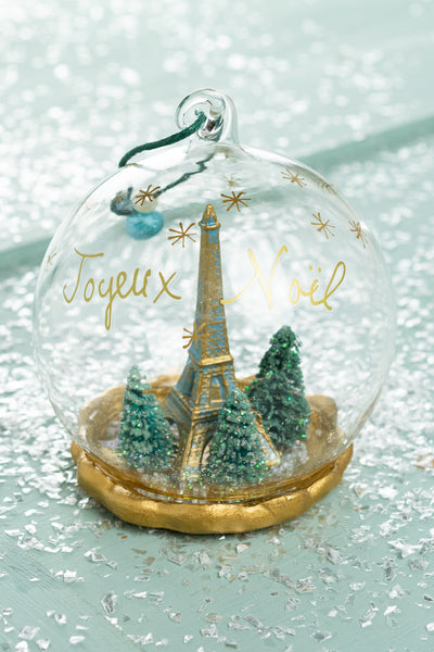 Eiffel Tower Winter Globe Ornament