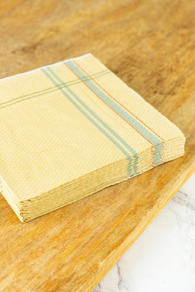 French Tea Towel Paper Beverage Napkins - Pack of 20