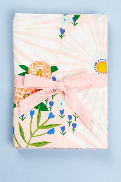 Daisy Floral Tea Towel Set - Pink