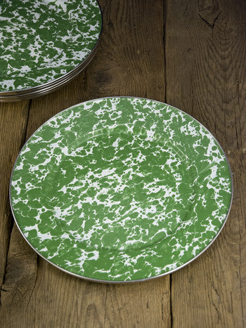 Green Swirl Enamel Dinner Plates