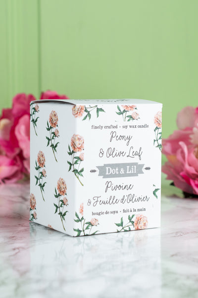 Dot & Lil Candle - Peony and Olive Leaf