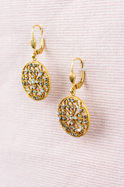 French Crystal Medallion Earrings