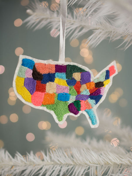 Embroidered U.S. Map Ornament