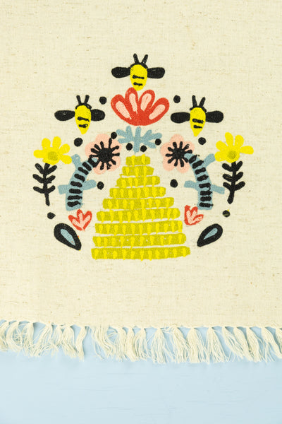 Bee Hive Embroidered Tea Towel