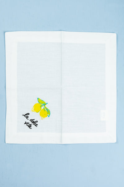 Embroidered Fruit Cocktail Napkins - Set of 4
