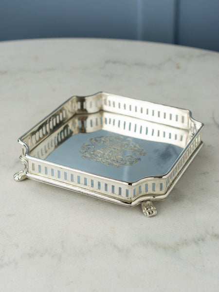 Small Silverplate Gallery Tray - Square