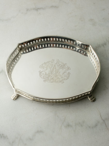 Small Silverplate Gallery Tray - Oval