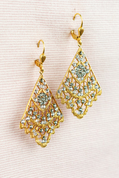 French Crystal Fan Earring