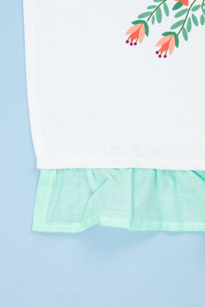 Calico Bunny Tea Towels With Ruffles - Set of 2