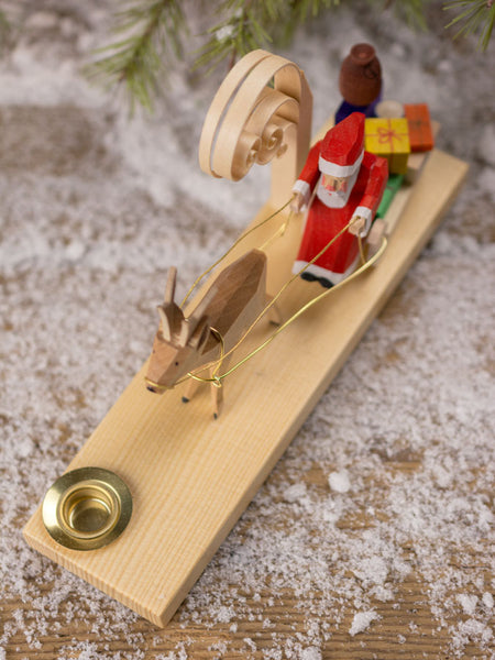 German Hand-Carved Santa on Sleigh Candle Holder