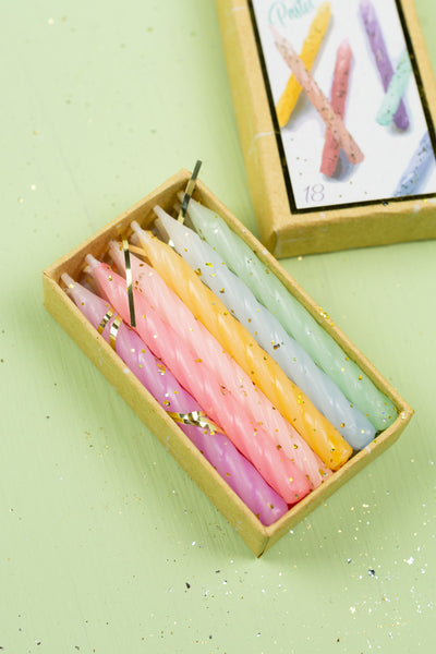 Glittered Pastel Birthday Party Candles
