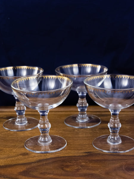 Golden Champagne Coupes - Set of 4