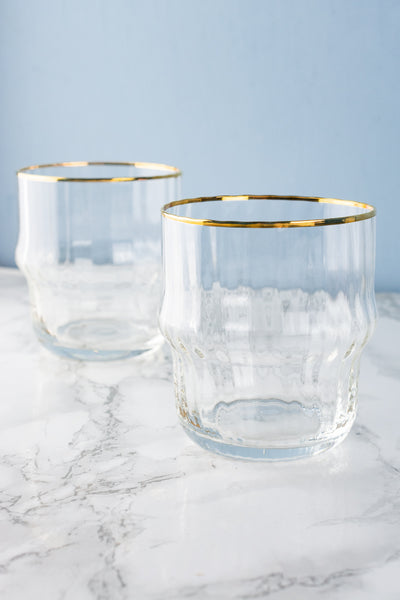 Gold-Rim Faceted Stacking Glasses - Set of 2