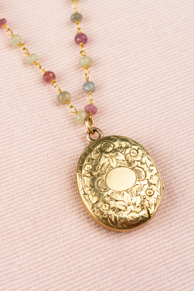 Vintage Gold Horseshoe Locket With Pink Sapphires