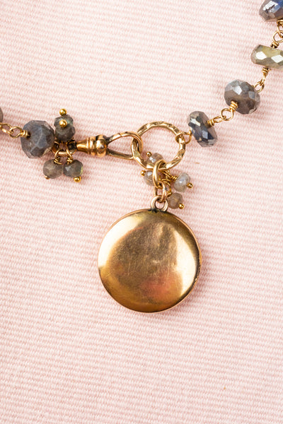 Vintage Gold Locket and Labradorite Bracelet