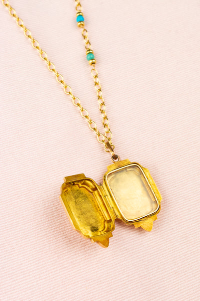 Vintage Gold Locket With Turquoise