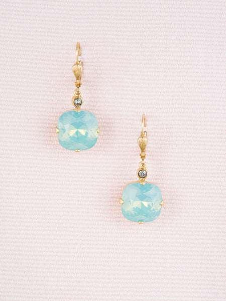Gold and Blue Crystal Cushion-Cut Earrings