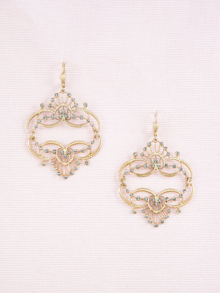 Golden Crystal Tiara Earrings