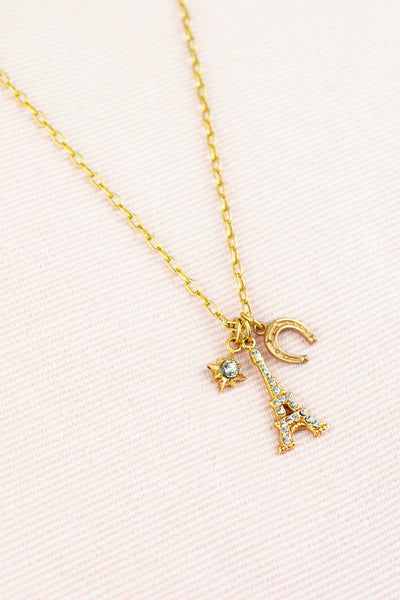 Golden Eiffel Tower Charm Necklace
