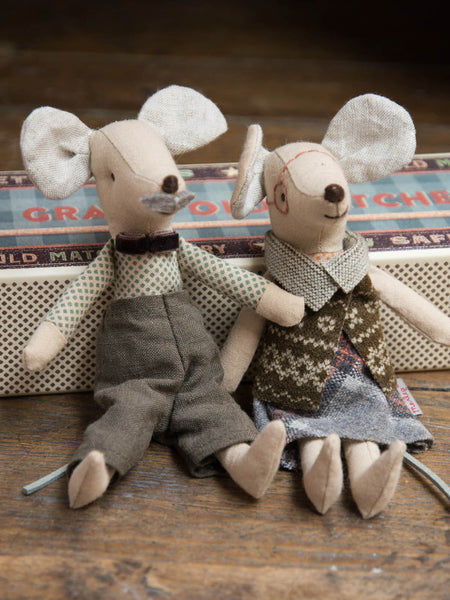 Grandpa & Grandma Mice in Matchbox