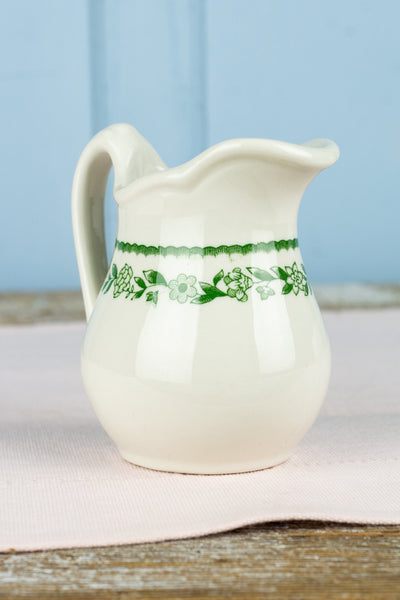 Vintage Buffalo China Green Floral Creamer