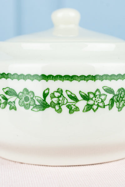 Vintage Buffalo China Green Floral Covered Sugar Bowl