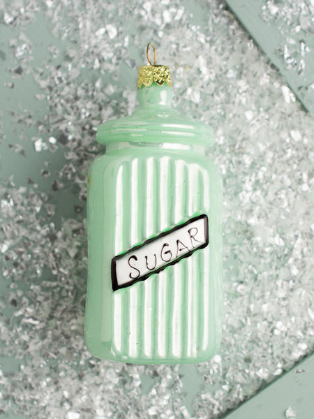 Green Glass Sugar Canister