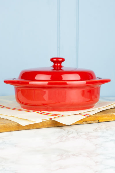 Hall China Scarlet Red Covered Casserole Dish