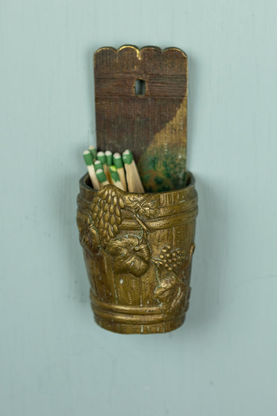 "Vintage Hanging Match Holder - ""Wine Barrel"""