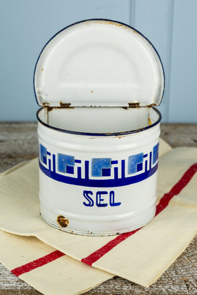Vintage Enamel Salt Box