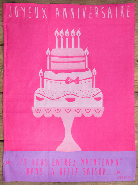 Happy Birthday Moutet Tea Towel