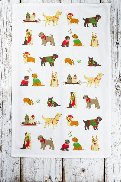 Holiday Pups Tea Towel