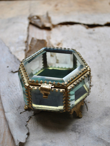 Beveled Glass Hexagon Jewelry Box
