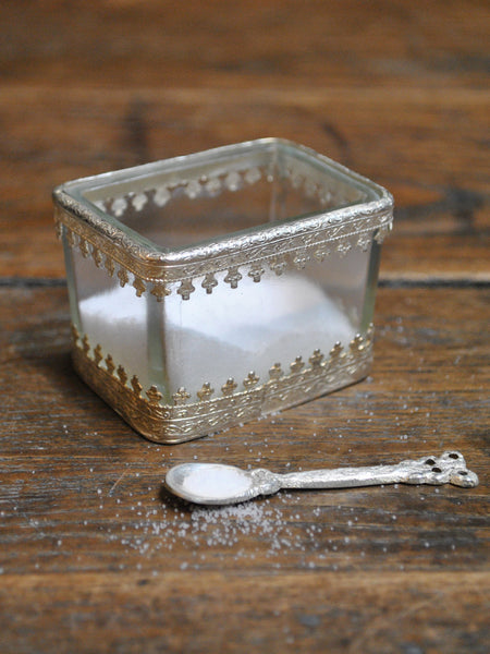 Glass Salt Cellar with Silver Spoon