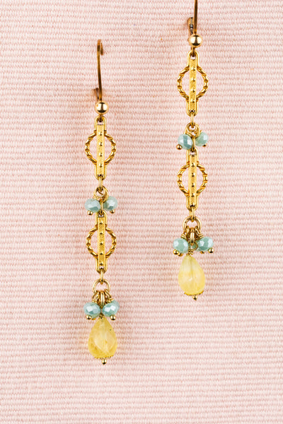 Vintage Lemon Quartz Gold Aquamarine Earrings