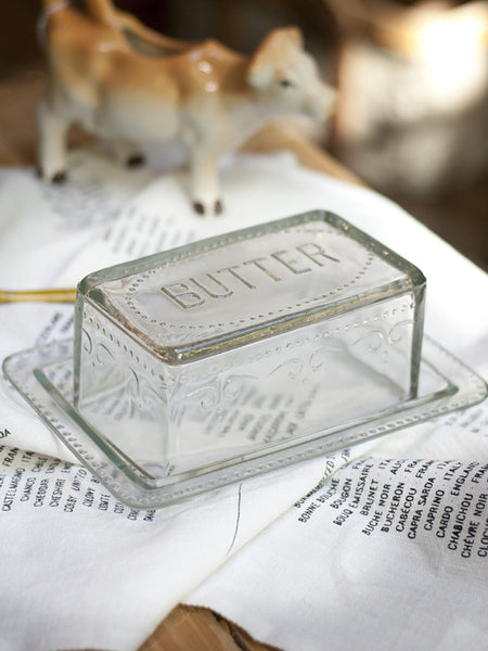 Embossed Glass Butter Dish