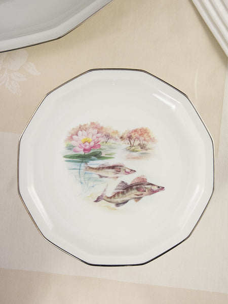 Vintage Limoges Fish Service with Flowers - Service for 12