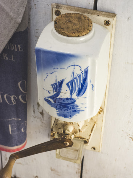 Vintage French Coffee Mill - Boats