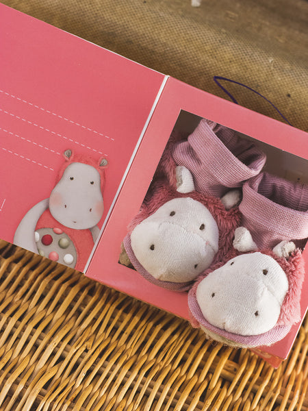 French Pink Hippo Slippers