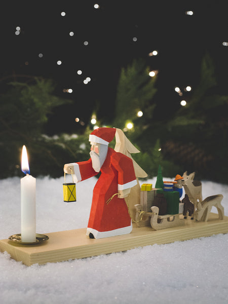 German Hand-Carved Santa with Animals Candle Holder