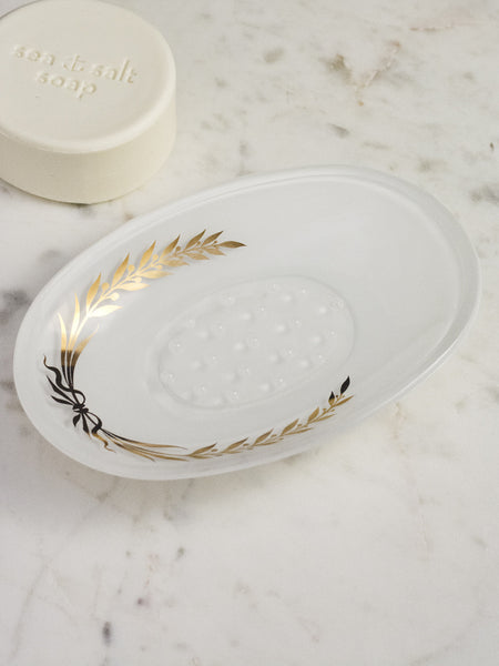 Empire White Glass Soap Dish