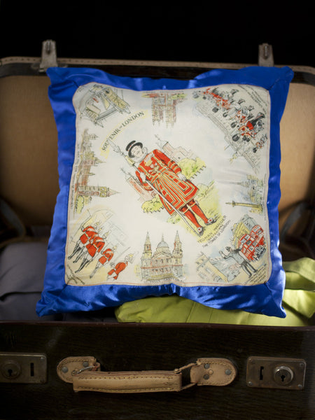 Vintage London Souvenir Hankie Pillow