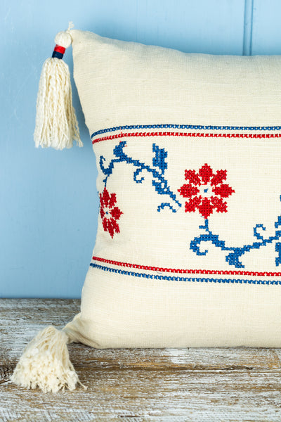 Embroidered Cotton Lumbar Pillow