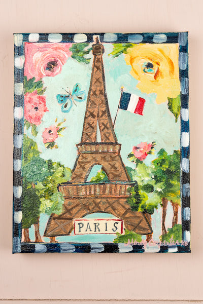 "Original Mindy Carpenter Painting - ""Eiffel Tower avec Fleurs"""