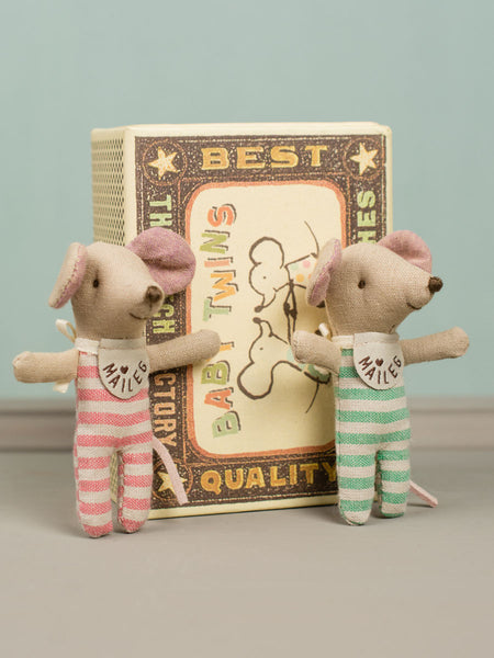 Baby Twin Mice in Match Box